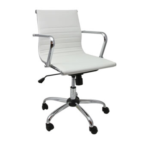146 Medium Leather Swivel Chair White