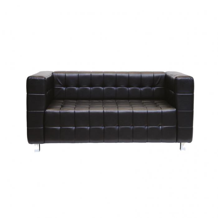 750BK Kubus Black Leather Sofa