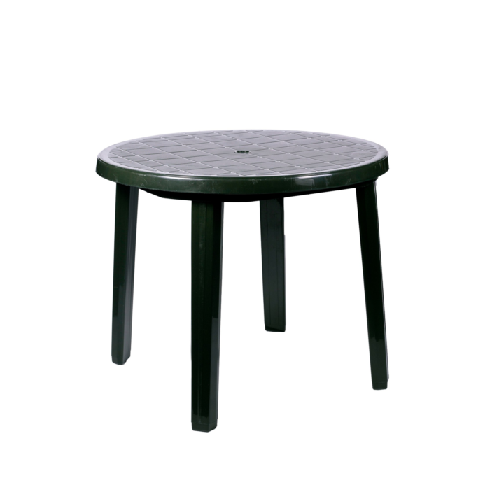 Plastic Patio Table Green Thorns Group, Round Plastic Patio Table